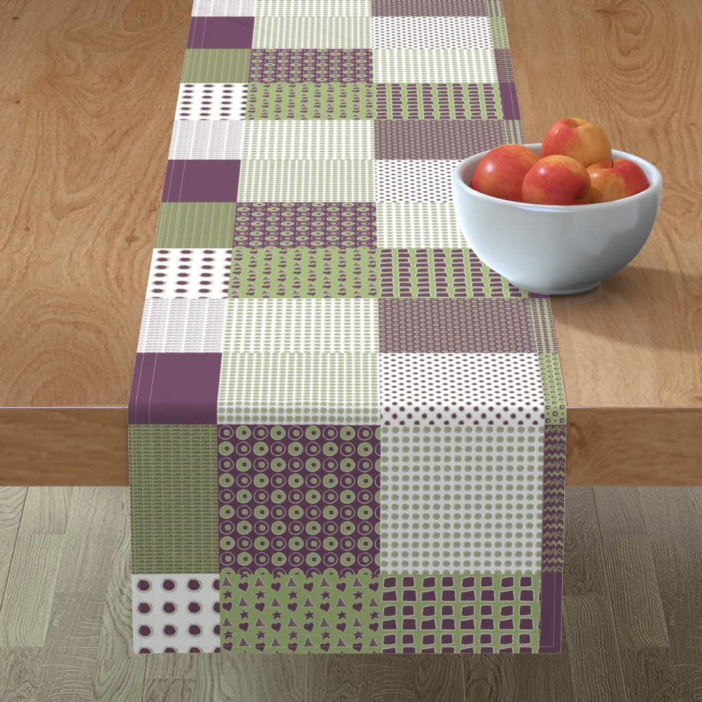 Minorca Table Runner featuring Cheater Quilt, Purple Peas by wiccked