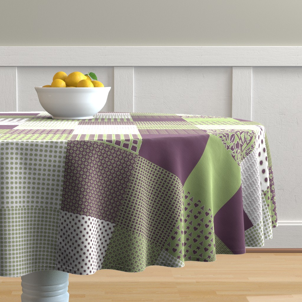 Malay Round Tablecloth featuring Cheater Quilt, Purple Peas by wiccked
