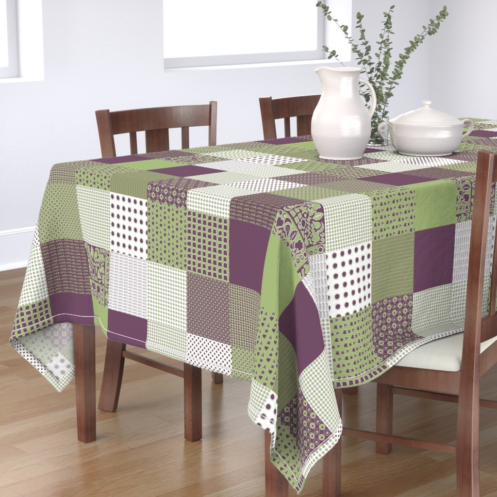 Bantam Rectangular Tablecloth featuring Cheater Quilt, Purple Peas by wiccked