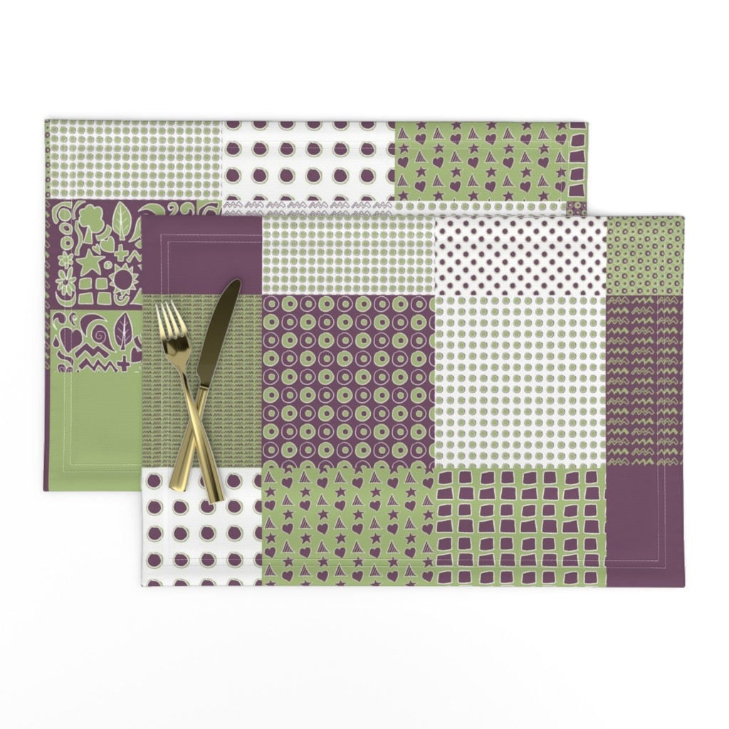 Lamona Cloth Placemats featuring Cheater Quilt, Purple Peas by wiccked