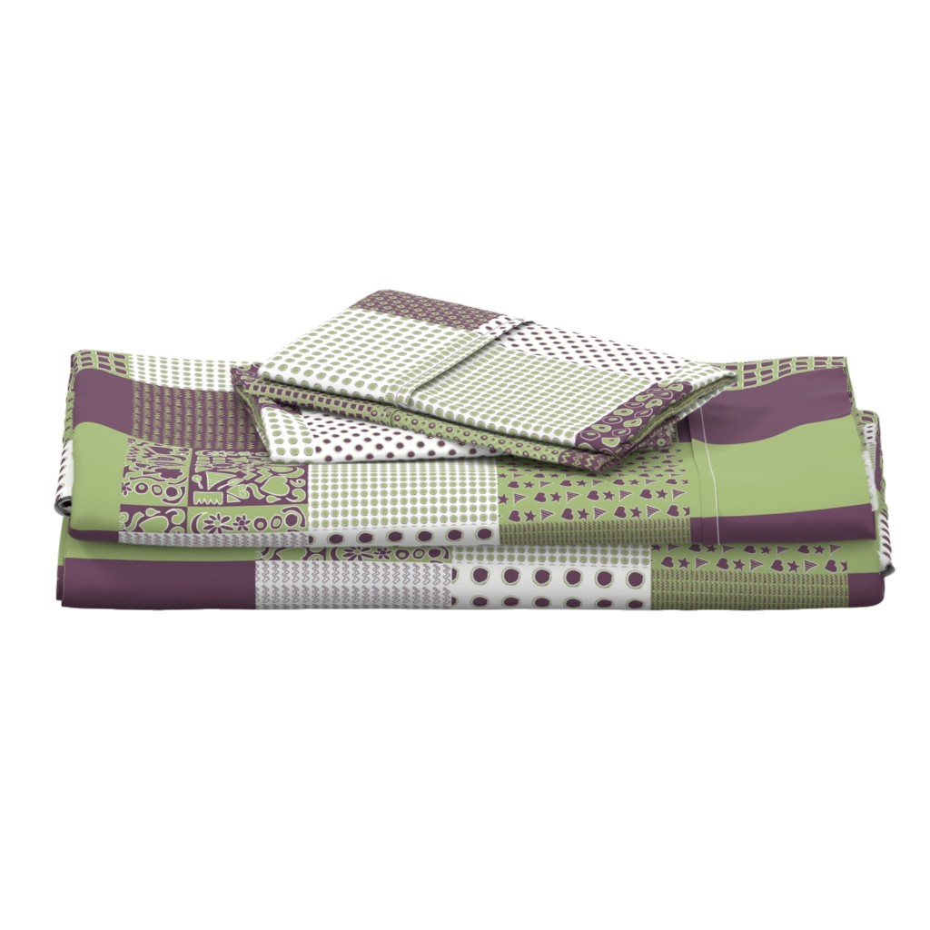 Langshan Full Bed Set featuring Cheater Quilt, Purple Peas by wiccked