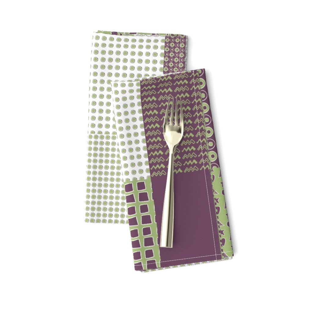 Amarela Dinner Napkins featuring Cheater Quilt, Purple Peas by wiccked