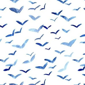 Sicilian seagulls - watercolor birds in the air - painted flying stylised birds a561-1