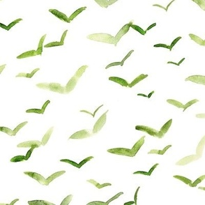 Khaki Sicilian seagulls - watercolor birds in the air - painted flying stylised birds a561-4