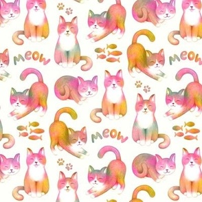 Pet Kitty Cats in Rainbow