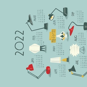 Spoonflower 2022 Calendar lamps sideways  18 x 24 printful