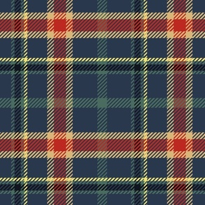 Navy Blue and Pine Plaid Large
