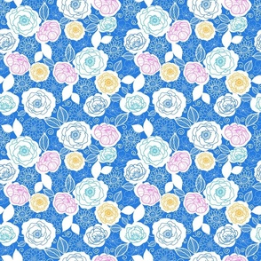 Blue with colors floral fabric