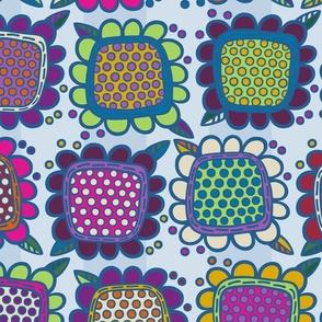 Squarish Flowers - Moody on Lt Blue - MEDIUM