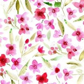 enchanting sakura - watercolor cherry blossom - painterly spring florals - fruit tree bloom for modern nursery home decor kids a573-1