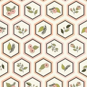 Hexagons with Flowers - Blush, Ivory