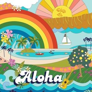 Aloha, Anuenue! (Hello, Rainbow!) (Jumbo)    Hawaii Hawaiian tropical Polynesian rainbow palm trees flowers hibiscus plumeria sun sunset sunrise ocean diamond head waves sailboat memphis