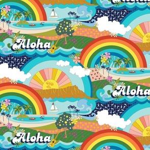 Aloha, Anuenue! (Hello, Rainbow!) (Maxi)    Hawaii Hawaiian tropical Polynesian rainbow palm trees flowers hibiscus plumeria sun sunset sunrise ocean diamond head waves sailboat memphis