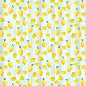 MINI lemon watercolor fabric - watercolor fabric, citrus fruit fabric, lemons fabric, lemon -  mint stripe