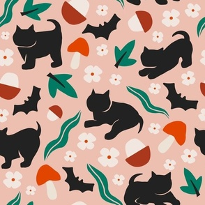 Halloween Cats and Bats