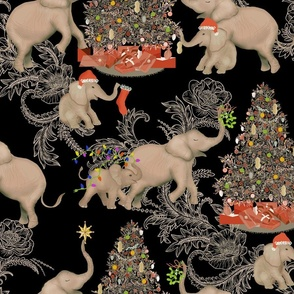 TOILE PACHYDERM HOLIDAY BLACK