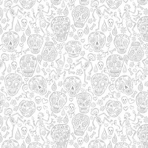 Sugar Skulls Gray on White