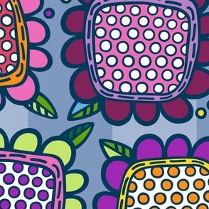 Squarish Flowers - Mellower on Slate - EXTRA LARGE