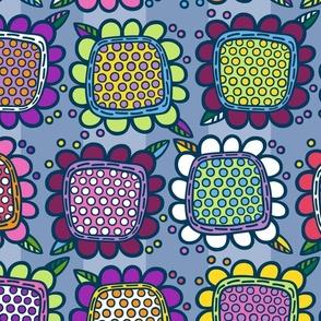 Squarish Flowers - Mellower on Slate - MEDIUM