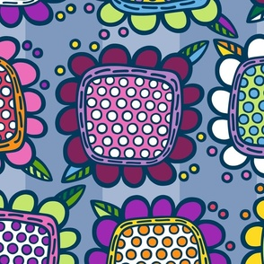 Squarish Flowers - Mellower on Slate - LARGE