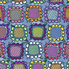 Squarish Flowers - Mellower on Slate - SMALL