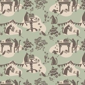Kitty Cat's Holiday Traditions Toile: Celadon & Brown