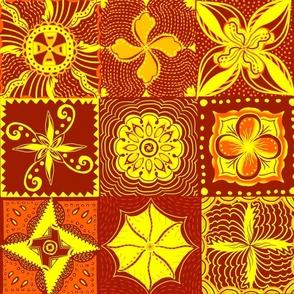"Shades of orange mandala tiles 24"" block"