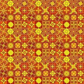 "Orange boho, Moroccan tiled effect 6"" blocks"