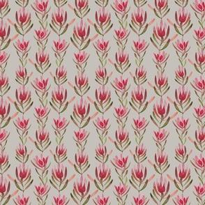 red leafy protea