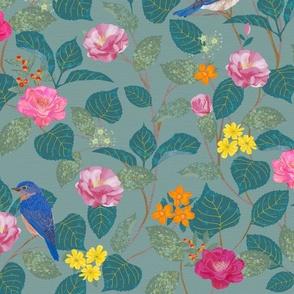 Camellia Garden Woven Texture Blue Gray
