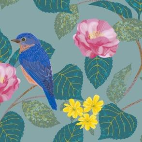 Camellia Garden Woven Texture Blue Gray LARGE SCALE