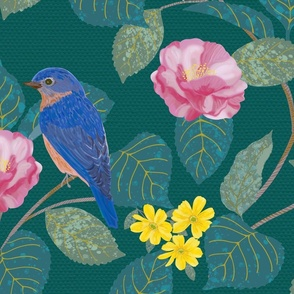 Camellia Garden Woven Texture Forest Green Large Scale