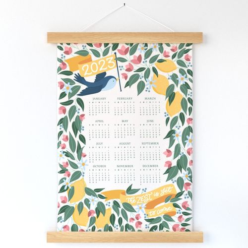 2022 Calendar with Lemon Tree, Blue Bird, And Pink Flowers