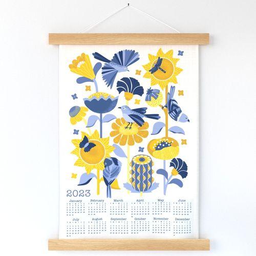 2022 Garden Friends Calendar Tea Towel /  Wall Hanging