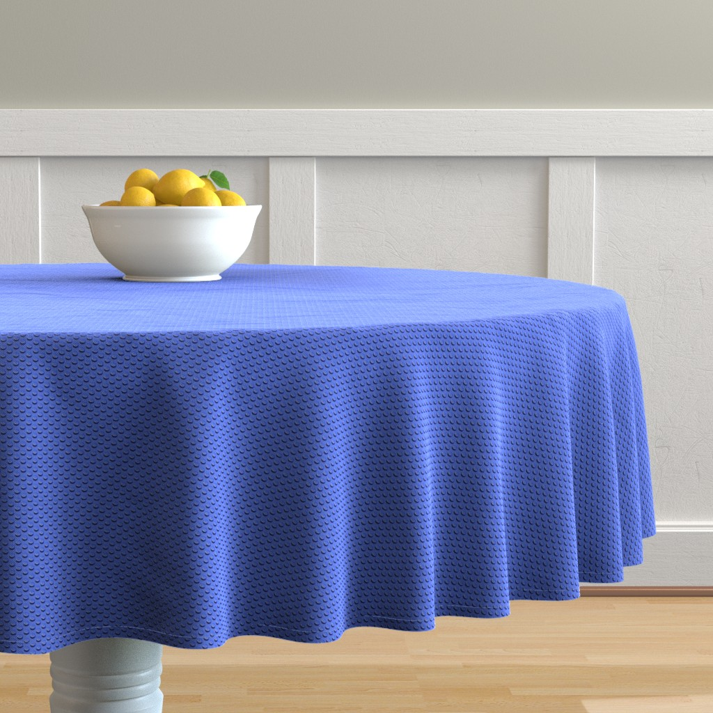 Malay Round Tablecloth featuring Building bricks blue by spacefem