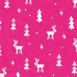Christmas Reindeer - winter forest - fuchsia - C21