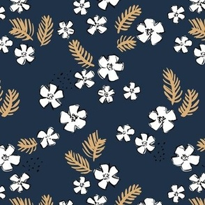 Little messy winter garden flowers and pine needles branches boho style navy blue caramel gold white