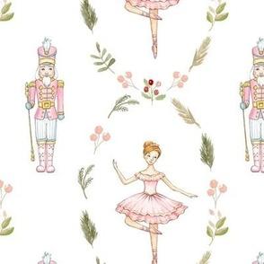 Pink nutcracker with pink ballet dancer in floral wreath MEDIUM