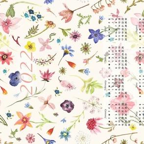 2022  calendar watercolor floral