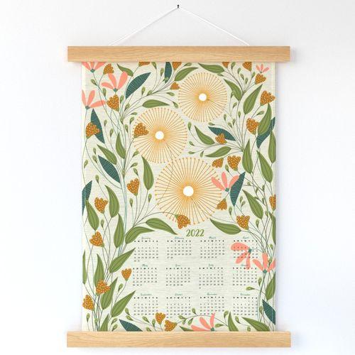 2022 wildflowers on linen calendar
