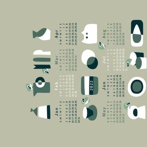 Scandi Stoneware Calendar 2022   Green