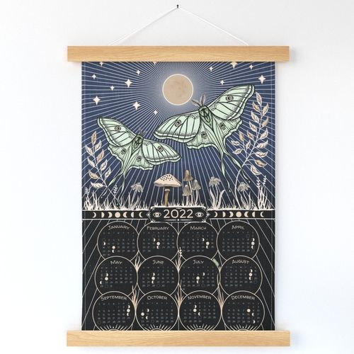 Luna Moths with Full Moon - calendar/wall Hanging or Tea Towel - moon phases, lunar calendar