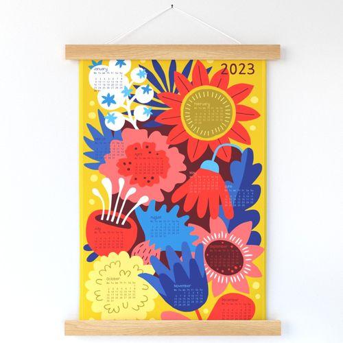 Bold Colorful Flowers Calendar 2022 tea towel