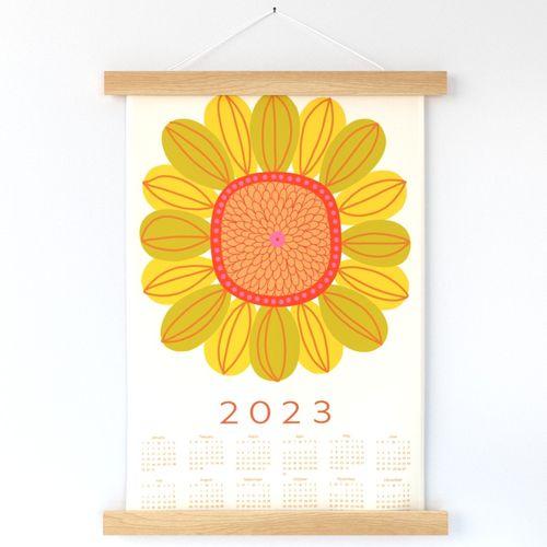 Retro sunflower 2022 tea towel wall hanging by Pippa Shaw