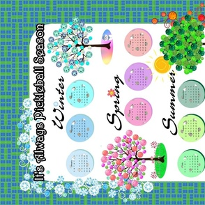 It's Always Pickleball Season - Winter_ Spring_ Summer_ Fall Pickleball Trees on Blue and Green Court Pattern