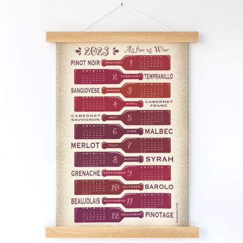 "2022 Calendar - As Fine as Wine Please choose Linen Cotton Canvas or a fabric wider than 54""(137cm)"