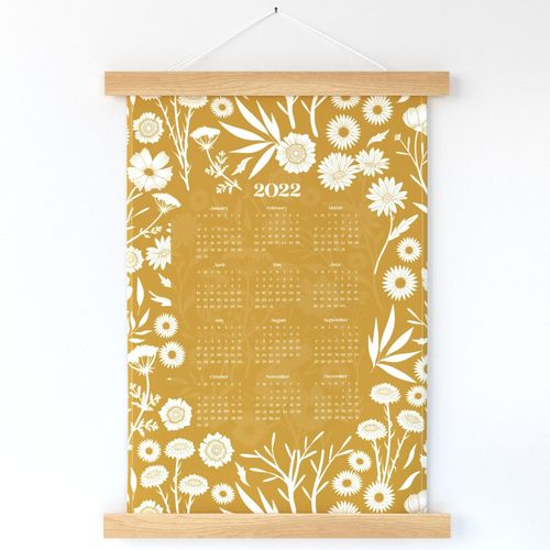 2022 Wildflower Silhouette Calendar in Mustard