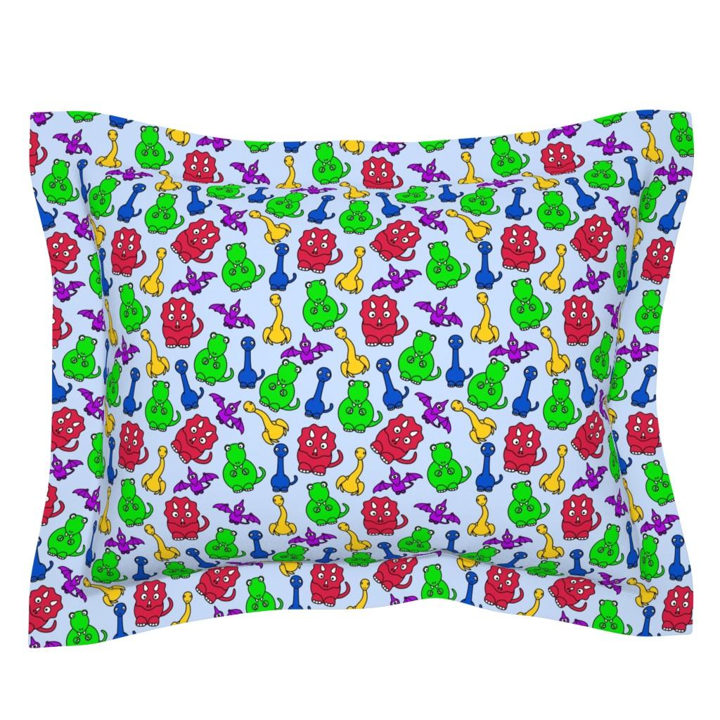 Sebright Pillow Sham featuring Friendly Dinosaurs - 8in (bright primary) by studiofibonacci