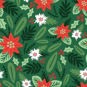 Merry and Bright Christmas Floral - Medium Scale