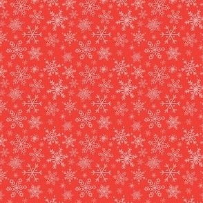 Snowflake - Pink on Red, Tiny Scale